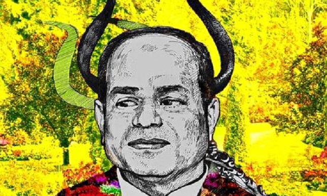 Graffiti artwork showing El-Sisi with 'devilish horns.' (Photo credit: Ammar Abou Bakr.)