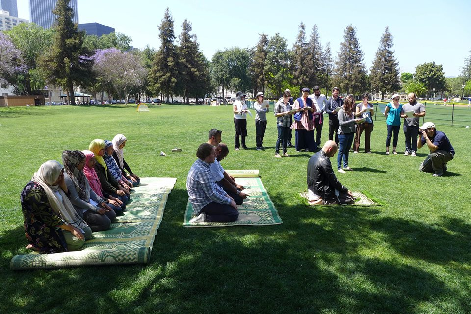 Performing Duhr (noon prayers) and reciting Psalms (Biblical poetry that Jews often recite as prayers beyond their three daily prayer services at Roxbury Park.