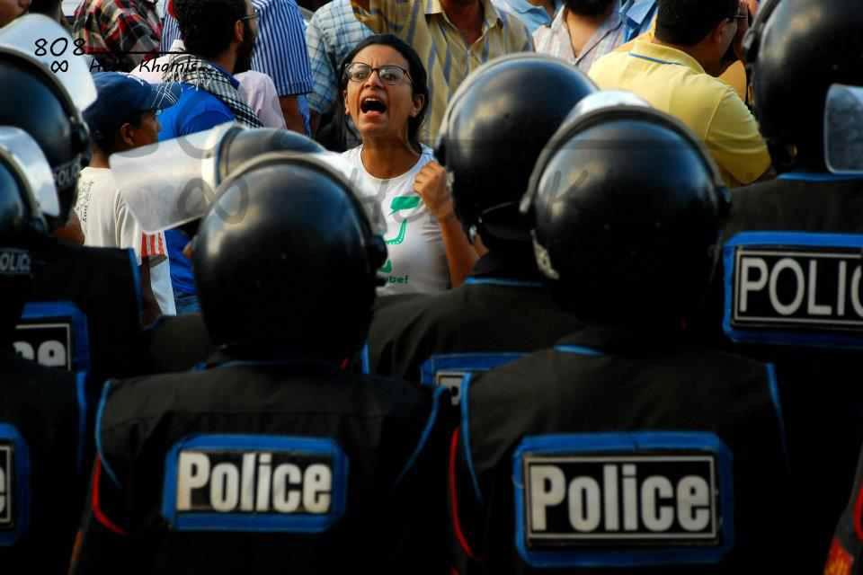 (Archive) Activist and Lawyer Mahienour El-Massry in a protest - Photo from Facebook