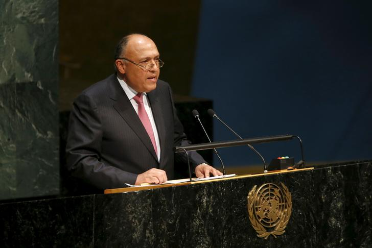 Egypt's Foreign Minister Sameh Shoukry addresses the Opening Meeting of the 2015 Review Conference of the Parties to the Treaty on the Non-Proliferation of Nuclear Weapons (NPT) at United Nations headquarters in New York, April 27, 2015. REUTERS/Mike Segar