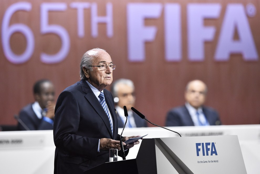 FIFA president Sepp Blatter delivers a speech at the beginning of the 65th FIFA Congress in Zurich. MICHAEL BUHOLZER / Getty Images