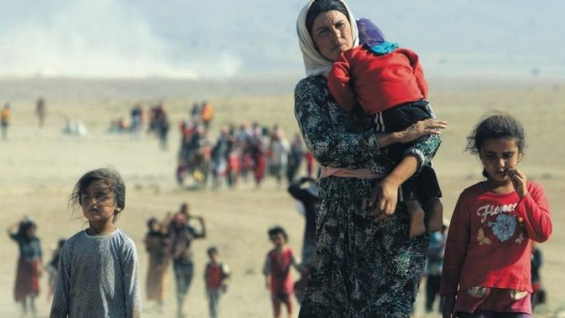 Displaced people from the minority Yazidi sect, fleeing violence from forces loyal to Islamic State