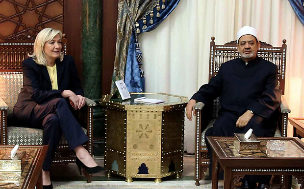 Grand Imam of al-Azhar Sheikh Ahmed el-Tayeb met with Marine Le Pen in Cairo Photo: AFP