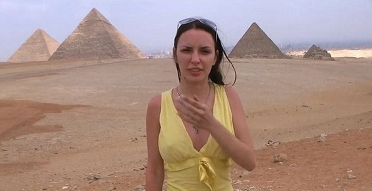 A screenshot from a pornographic video shot at Egypt's Pyramids that stirred outrage in Egypt.