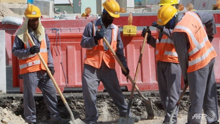 Workers are seen at a construction site in Doha, Qatar, host of the 2022 football World Cup. (Photo: AFP)