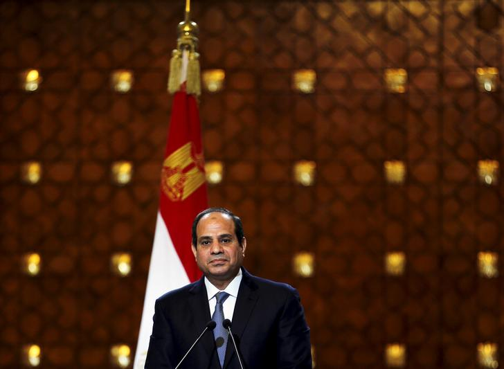 Egypt's President Abdel Fattah al-Sisi speaks during a news conference with Greek President Prokopis Pavlopoulos (not pictured) after their summit at the presidential palace in Cairo, April 23, 2015. REUTERS/Amr Abdallah Dalsh