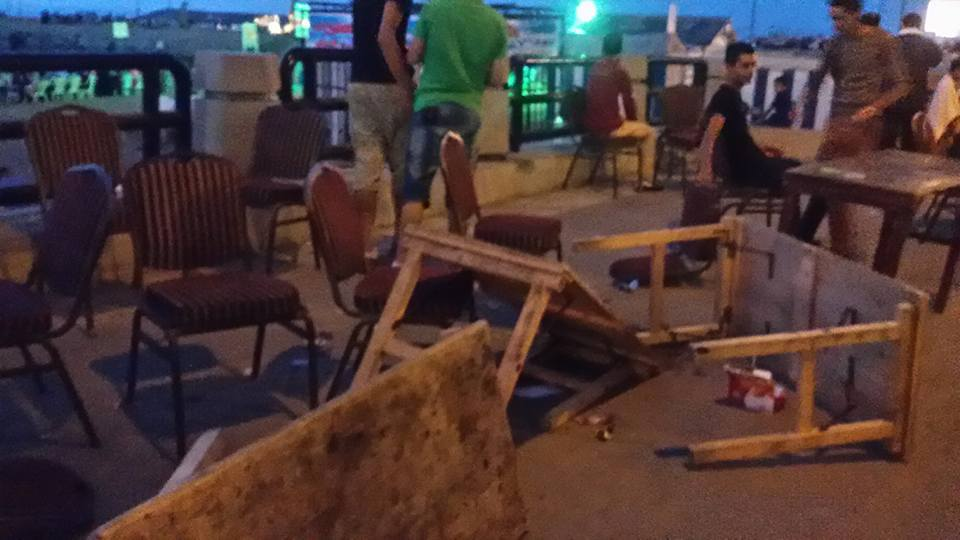 Broken chairs and tables as the Guinness World Record attempt ends in havoc.