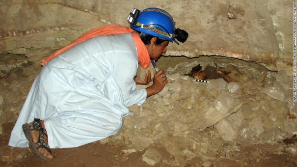 Archaeologist Salima Ikram examines the mummified remains of an adult dog in a wall niche/Cardiff University