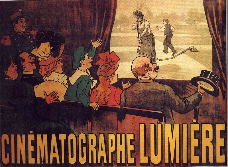 A poster advertising the Lumière brothers cinematographe, showing a famous comedy (L'Arroseur Arrosé, 1895) / Credit: Marcellin Auzolle