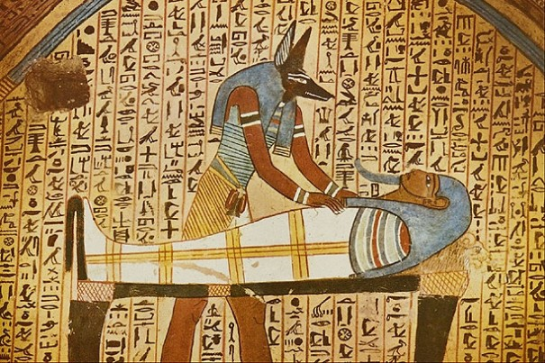 A tomb wall painting depicts a scene from the Egyptian Book of the Dead