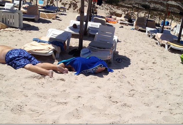 Two bodies on the beach after the attack in Tunisia. Credit unknown.