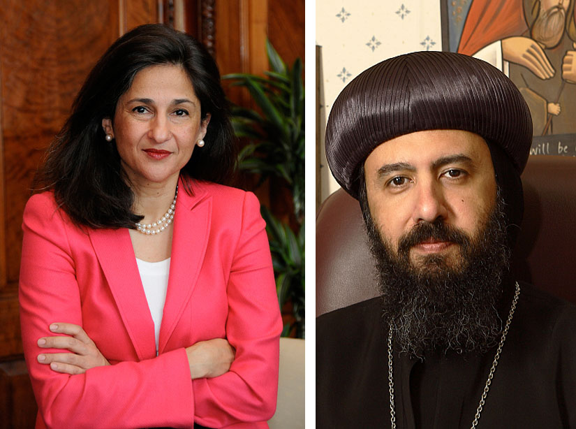 Dr. Nemat Shafik (letf)/ Source: DFID, HG Bishop Angaelos (right)/ Source: BishopAngaelos.org