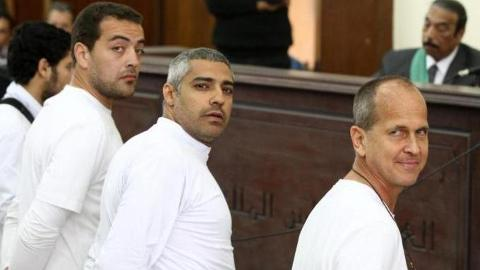 Three Al Jazeera journalists were also sentenced last year
