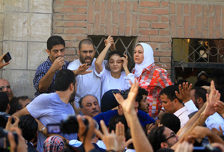 Sanaa Seif, who was at the protest, with Alaa Abdel Fattah in August 2014