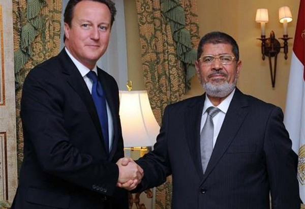 UK Prime Minister David Cameron with Mohamed Morsi
