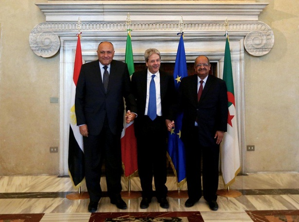 Foreign Ministers of Egypt (left), Italy (center) and Algeria for Maghreb and African Affairs (Photo: Italian Foreign Ministry in Libya)