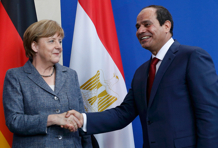 President Sisi and Chancellor Merkel at the end of a press conference in Berlin. Credit: Reuters