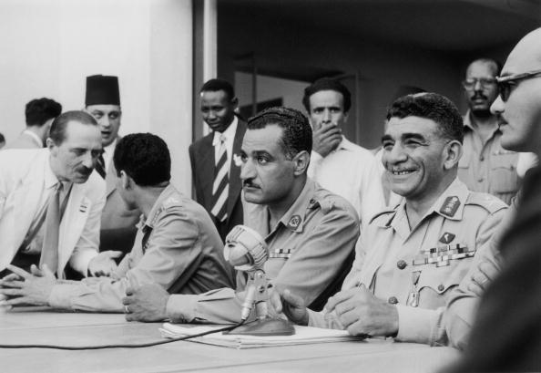 Mohamed Naguib and Gamal Abdel Nasser one year after the 1952 revolution