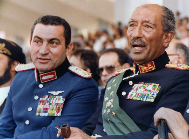 Former Egyptian Presidents Anwar Sadat and Hosni Mubarak