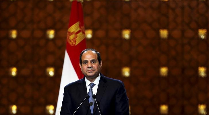 Egypt's President Sisi speaks during a news conference with Greek President Pavlopoulos in Cairo