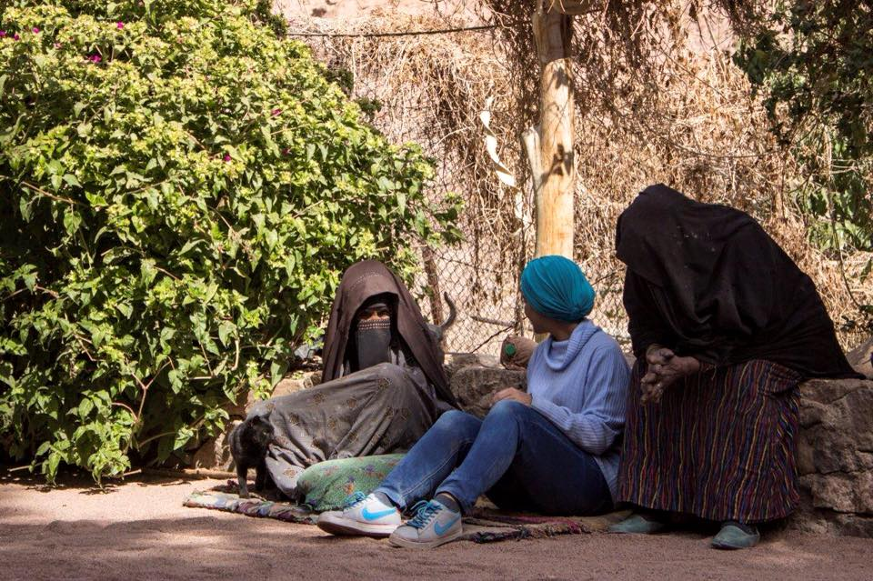 Talking to the old Bedouin women of St Catherine in Sinai, Egypt.