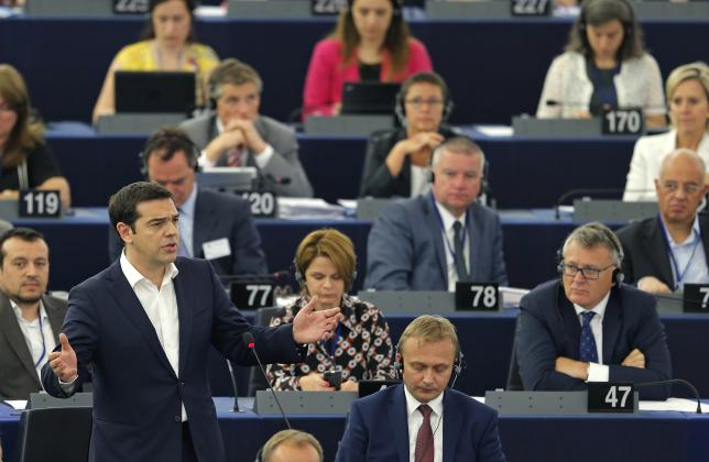 Greek Prime Minister Alexis Tsipras addresses the European Parliament in Strasbourg, France, July 8, 2015. Source: REUTERS/Vincent Kessler