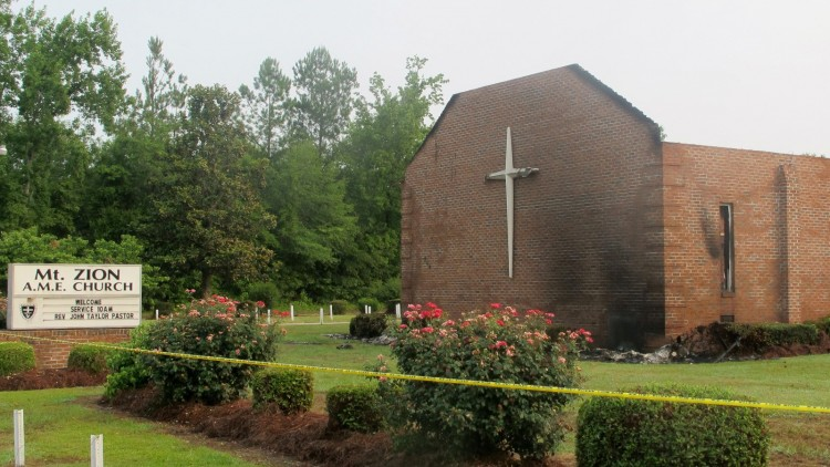 A lightning is suspected of causing fire at Mount Zion African Methodist Episcopal Church. Credit: AP/Bruce Smith