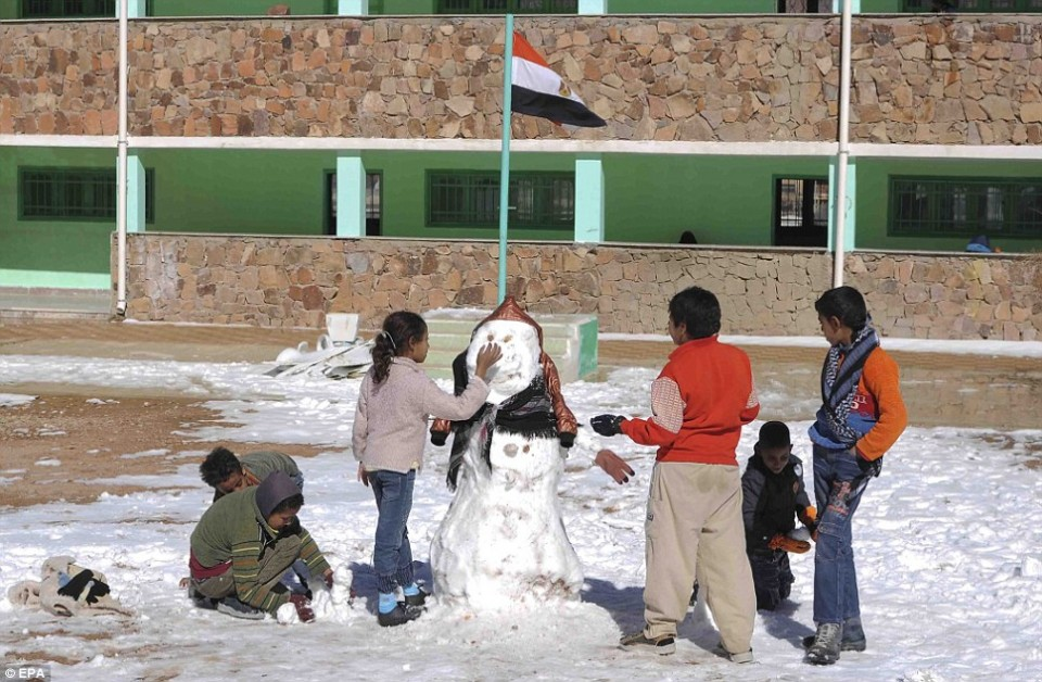Children in Saint Catherine building a snowman at the school yard during a rare snowstorm that blanketed most of the Middle East in December 2014. Source: EPA