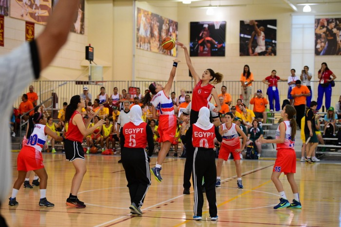 The women's basketball teams of Costa Rica and Egypt competing in basketball during the 2015 Special Olympics World Summer Games (Photo by Kohjiro Kinno / ESPN Images)