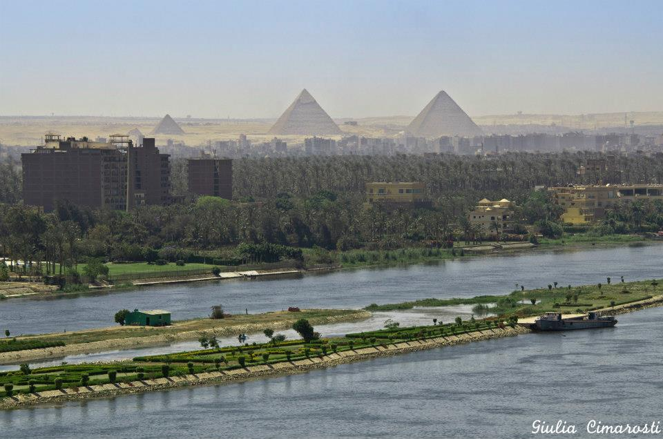 The Nile and Giza Pyramids clear at a distance. Credit: Giulia Cimarosti