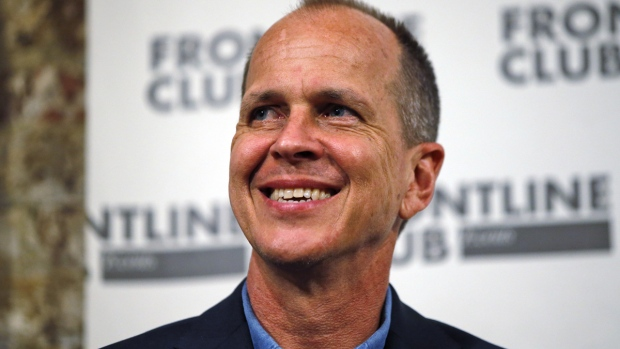Freed Al Jazeera journalist Peter Greste smiles as he answers a question during an event in central London, Thursday, Feb. 19, 2015. Dredit: Lefteris Pitarakis/ AP