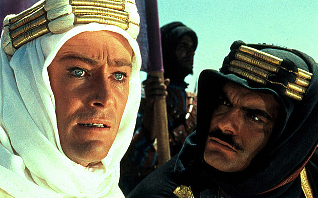 "Peter O'Toole and Omar Sharif in ""Lawrence of Arabia"""