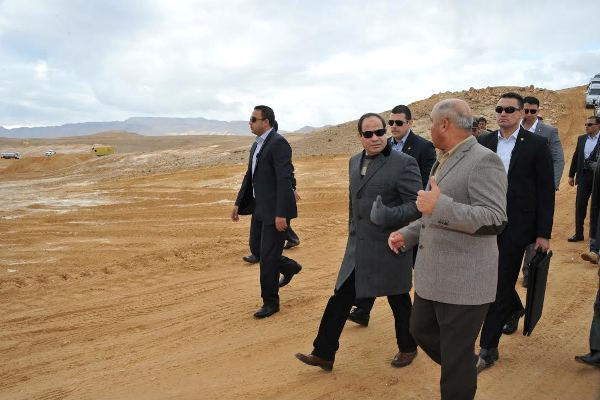 "Egypt's President Abdel Fattah al-Sisi visits the ""New Suez Canal"" project, on January 16, 2015. Presidency Handout"