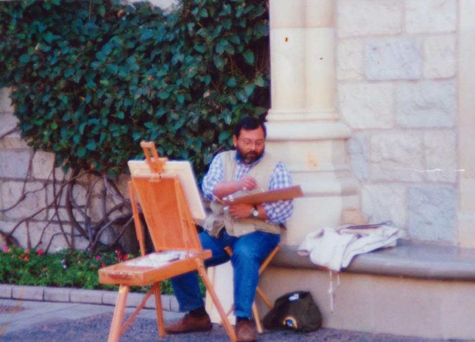 Hani sketching at Disneyland behind the Aurora's Sleeping Beauty Palace in March 1994