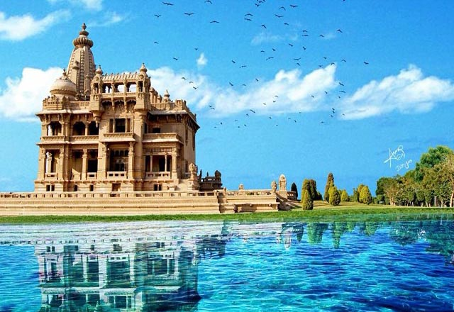 Baron Palace by a lake. Photo manipulation by Amr Eid and logo by Omar Montasser Abou-Omar.