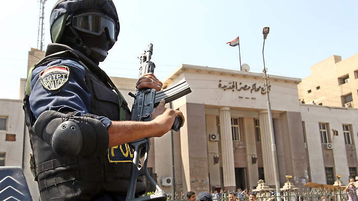 Heavy security presence around Cairo Courthouse following past bombings. Source: AAP (Archive photo)