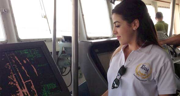 Marwa el-Slehdar on board of Aida 4