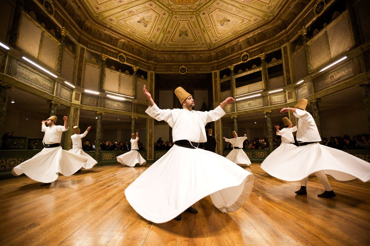 Sufi whirling dervishes performing at Beit Sanqar al-Saady in Cairo