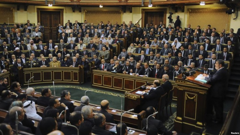 Egyptian President Mohamed Mursi delivers a speech to the Shura Council, or upper house of parliament, in Cairo, December 29, 2012. Credit: Reuters