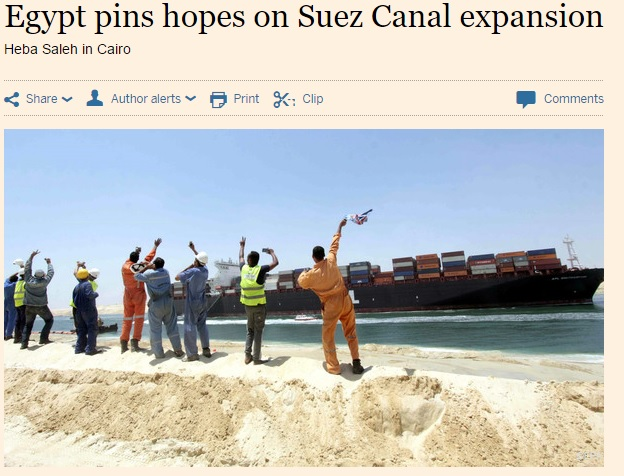 Financial Times' coverage of the New Suez Canal