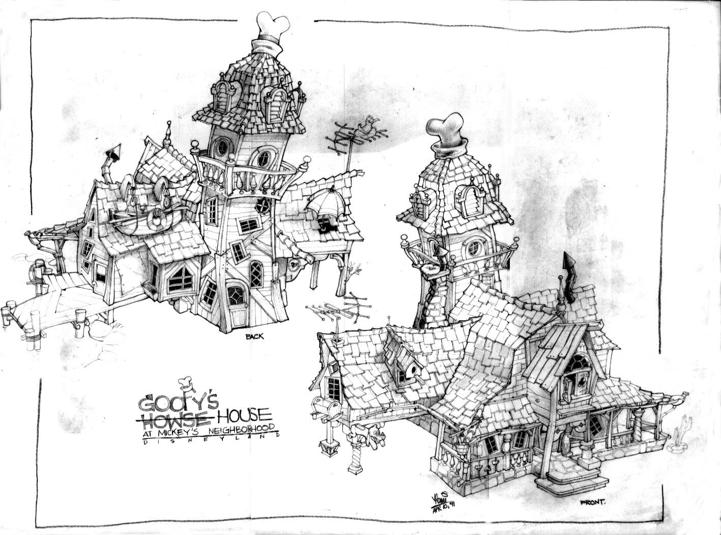 Hani's concept of Goofy's Bounce House in Disneyland's ToonTown