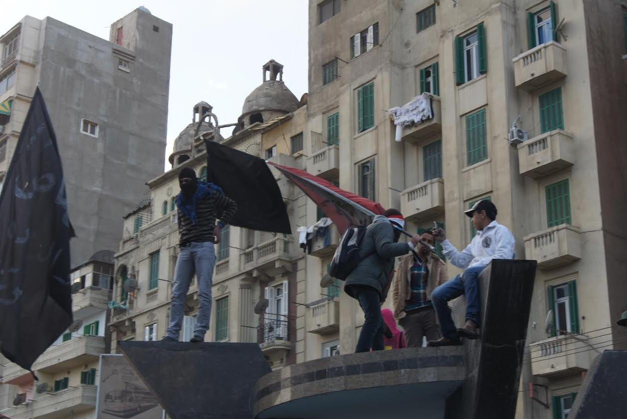 Black Block members during a demonstration in Alexandria in March 2013. Credit: Omneya Elnaggar
