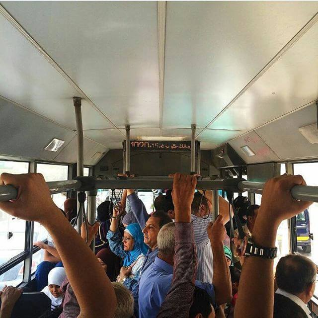 The daily struggle on a bus in Egypt. Photo by Ahmed Fouad