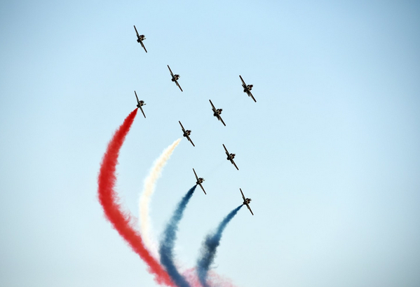 The celebrations also included a parade by Egypt's air force