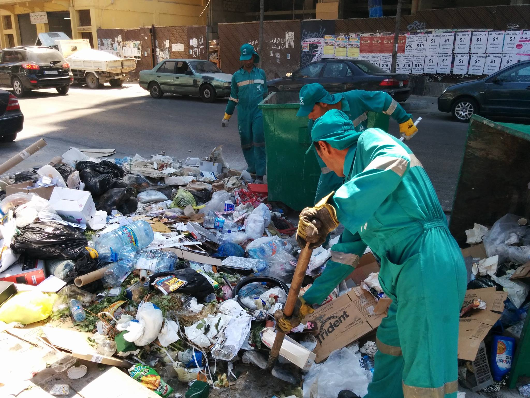 Sukleen workers on Armenia Street, Mar Mikhael, Beirut several days before Saturday's demonstrations.  Credit: Alexander Liddington-Cox/Lebanese Streets