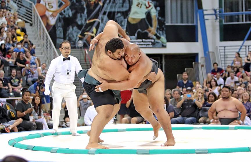 Egypt's new US Sumo champion on the left.