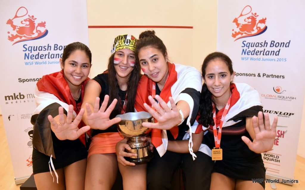 Egypt's Salma Hany,  Habiba Mohamed, Nourhan Gohar and Mariam Metwally celebrate their victory.