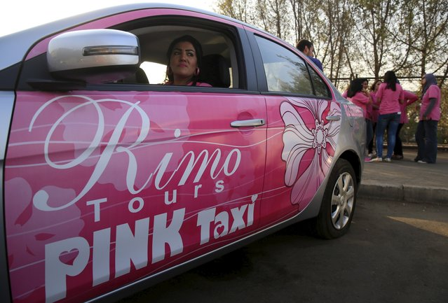 Pink Taxi is Egypt's first women-only taxi service, aimed at combating sexual harassment. Credit: Amr Abdallah Dalsh/ Reuters