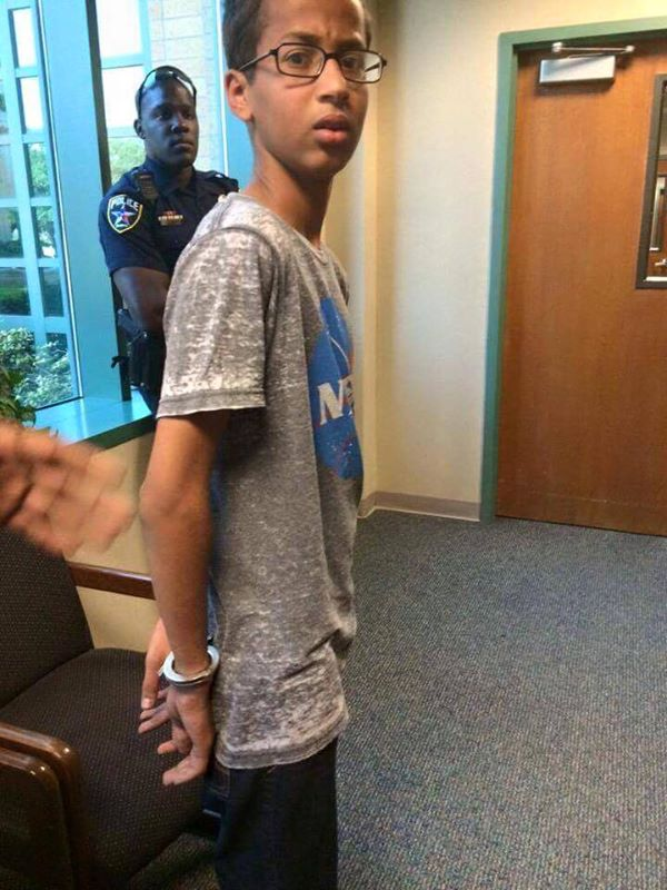 Ahmed upon arrest at school.