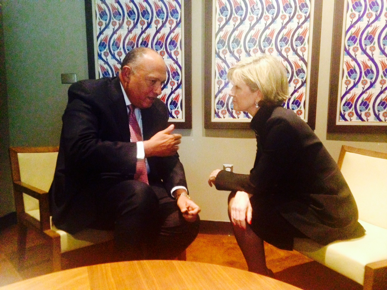 Julie Bishop meets with Egyptian Foreign Minister, Sameh Hassan Shoukry, at the United Nations in New York on 19 September 2014. (Trevor Collens/DFAT)